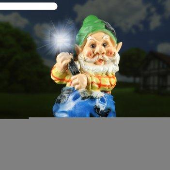 Садовый фонарь гном с фонарем 24х24х52см