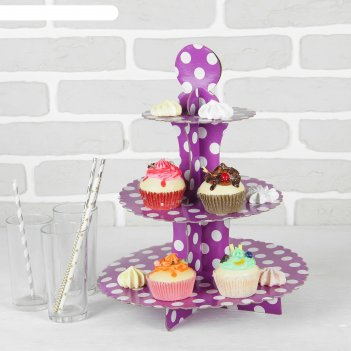 Подставка для пирожных трёхъярусная ласка, сиреневый цвет