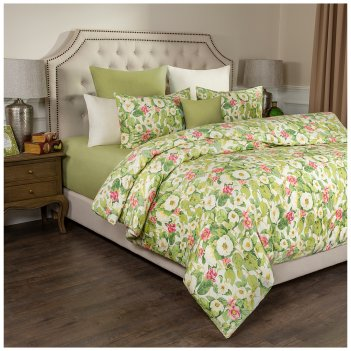 Кпб 2-х спальный жасмин пододеяльник 175*215 -1шт., прост (цвет св.зеленый