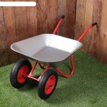 Тачка садовая, двухколесная: груз/п 120 кг, объём 85 л, пневмоколесо 3.25/