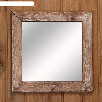 Зеркало-вешалка, 3 крючка, состаренное, 30x30см