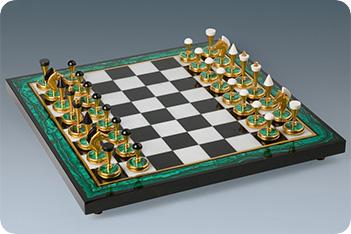 Шахматы малахитовые средние 36,5x36,5см