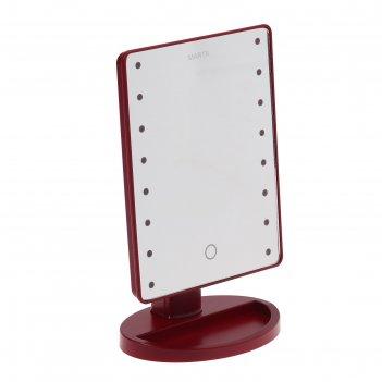 Зеркало косметическое marta mt-2654, 16 светодиодов, от батарек 4хаа, крас