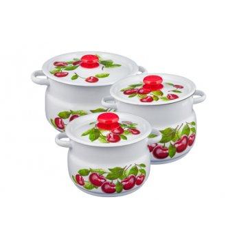 Набор кастрюль 3 предмета вишневый сад