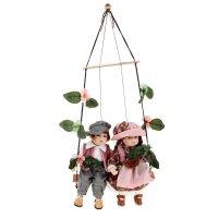 Кукла коллекционная миша и ника на качели (набор 2 шт) 29 см