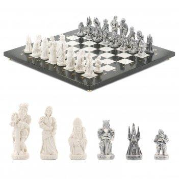 Шахматы средневековье мрамор змеевик 400х400 мм