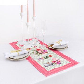 Дорожка на стол этель тюльпаны  30х70 см, 100% хл, саржа 190 гр/м2