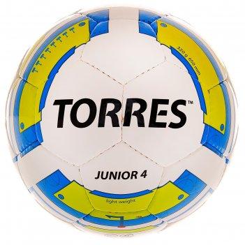 Мяч футбольный torres junior-4 р.4, пу, бело-желто-голубой