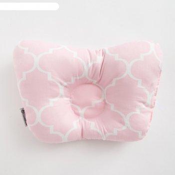 Подушка анатомическая крошка я  розовый узор, 26х22 см, 100% хлопок, сатин