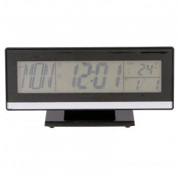 Часы-будильник электронные, с подсветкой на звук, с термометром, черные, 1