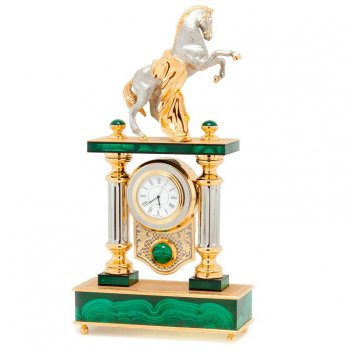 Часы конь с попоной камень малахит