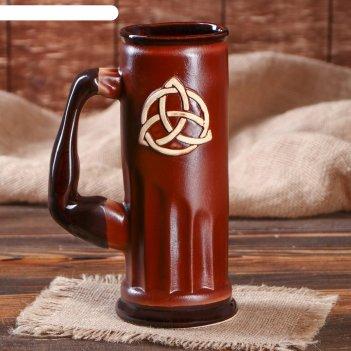 Пивной бокал славянский оберег триглав, цвет коричневый, 0.75 л