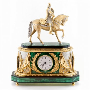 Каминные часы юрий долгорукий камень малахит
