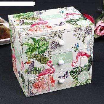 Шкатулка дерево комод 3 ящика фламинго в джунглях 14,8х15,6х11,6 см