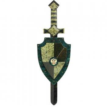 Настенный щит и меч с гербом россии камень змеевик