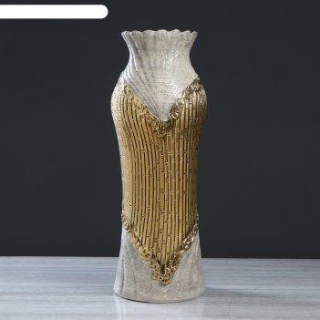 Ваза напольная лена гранит, золото, 70 см