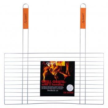 Решетка для гриля плоская 58х30 см с 2-мя деревянными ручками скаут 0742