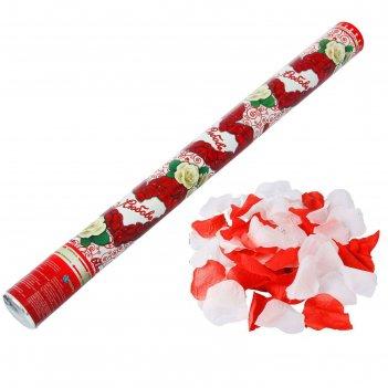 Хлопушка поворотная любовь (лепестки роз красные белые) 60 см