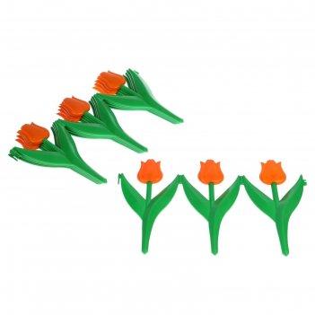 Ограждение декоративное, 30 x 225 см, 5 секций, пластик, оранжевый цветок,