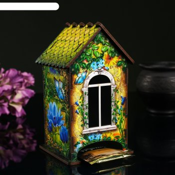 Чайный домик домик с корзинкой цветов