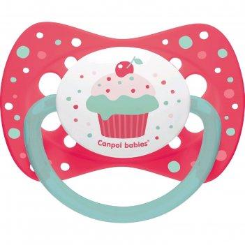 Пустышка силиконовая canpol babies cupcake, симметричная, от 6-18 месяцев,