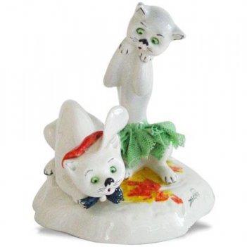 91041 фарфоровые фигурки кошек , пара  h9 cm