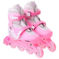 Роликовые коньки раздвижные, колеса pvc 64 мм, пластиковая рама, pink/whit