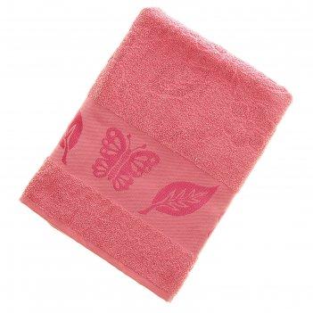 Полотенце махровое fiesta cotonn butterfly 70х130 см, цвет розовый, хлопок