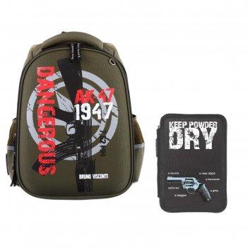 Рюкзак каркасный bruno visconti 38 х 30 х 20 см, милитари, тёмно-зелёный
