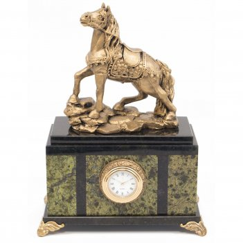 Часы конь змеевик статуэтка мрамолит 175х100х230 мм 2550 гр.