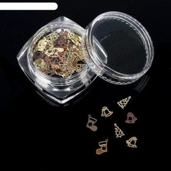 Декоративные элементы «новогоднее ассорти», цвет золото/розовое золото
