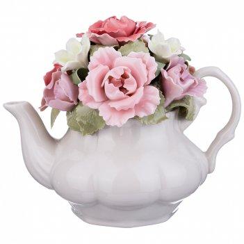 Статуэтка чайник с цветами 14*9*11 см. (кор=24шт.)