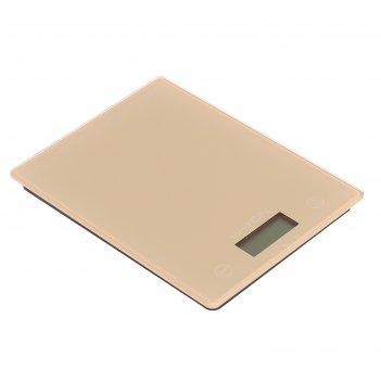 Весы электронные кухонные luazon lvk-507 до 5 кг, стекло, бежевые