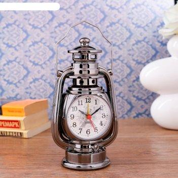 Часы настольные с будильником керосинка, 21х9х7.5 см