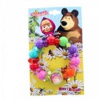 Браслет цветные бусины маша и медведь