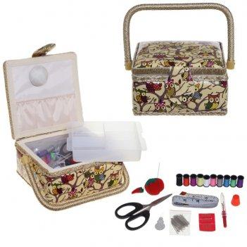Шкатулка для рукоделия с подносом и набором для шитья, l19,5...