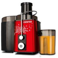 Соковыжималка centek ct-1210, 600 вт, 2 скорости+puls, стакан 1л, красный