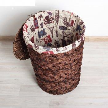 Корзина для белья плетеная круглая 32x32x44 см