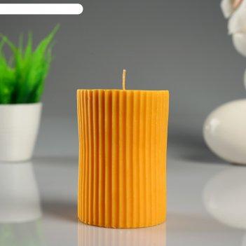 Свеча- цилиндр лимон с полосками, ароматическая, 7x10 см