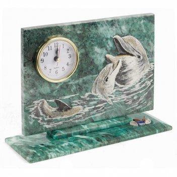 Часы дельфины змеевик 230х80х170 мм 1460 гр.