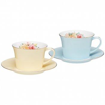 Кофейный набор lefard времена года 180 мл 4 пр. на 2 пер. голубой-желтый (