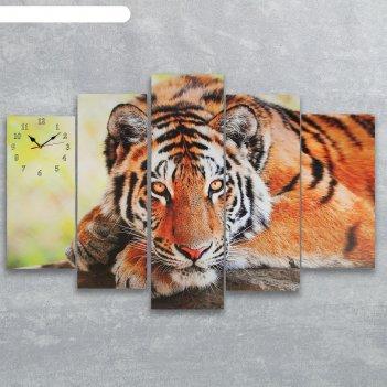 Часы настенные модульные «тигр», 80 x 140 см