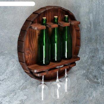 Полка бочка-бар, массив хвои, темно-коричневая, d=52 см