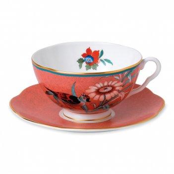 Пара чайная пионы, объем: 200 мл, материал: костяной фарфор, wgw-40032110,