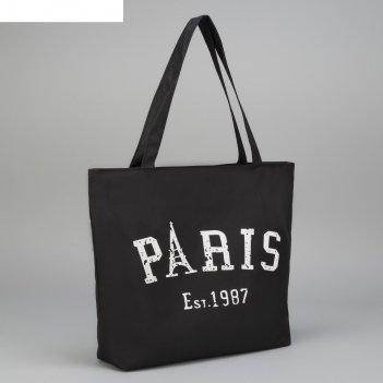 Сумка текстильная paris, отдел на молнии, с подкладом, цвет чёрный