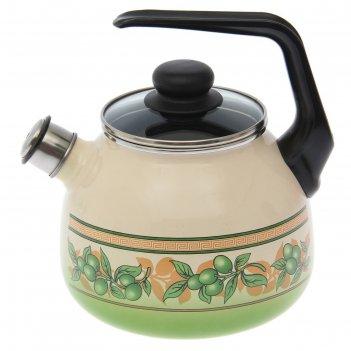 Чайник сферический 3 л olivia со свистком, цвет слоновая кость