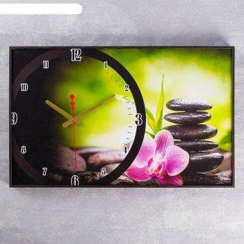 Часы настенные, серия: цветы розовый цветок на камнях,  микс 37х60 см