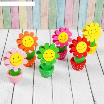 Визитница-прищепка цветочек улыбка с рисунком, цвета микс