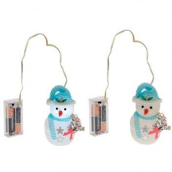 Уличное новогоднее украшение снеговик со светодиодом, h 10...