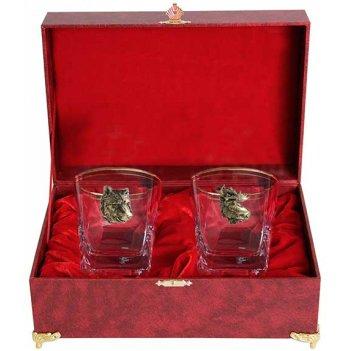 Набор из двух бокалов для виски звери медведь+лось(латунь) в шкатулке